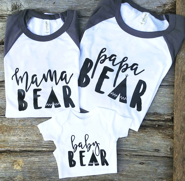 Mama Bear Graphic Tees Family Bear Shirts Mama By