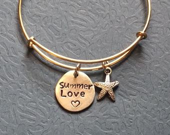 Summer Love Hand Stamped Bracelet