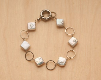 Square Pearl Bracelet with Silver Hoops