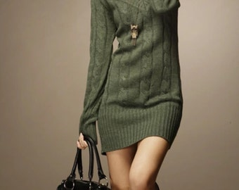 "Green "" EVERYTHING"" Sweater Dress"