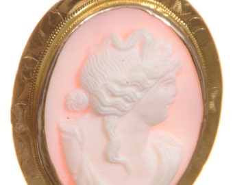 Antique Cameo Victorian pink shell portrait of woman 10K Gold circa 1910