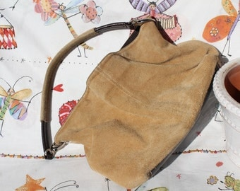 Suede Bag, sand., Soft, vintage bargains
