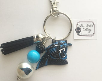 Carolina Panthers keychain/zipper pull with beads and tassel