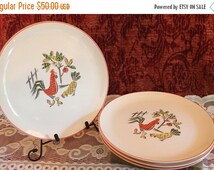 """Fall Clearance Sale Set of 4 Rare Crooksville China 10.25"""" Dinner Plates - Rooster and Chickens with Tree and Fence"""