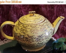Fall CLEARANCE Sale James Sadler Teapot - Yellow with Gold Flowers, 1232, 4 cup, Made in England