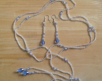 Long AB Clear and Pale Blue Lariat Necklace and Earrings