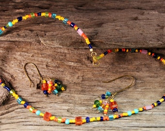 """BRIGHT, COLORFUL BEADED Necklace/Earring Set. Single Strand, 16"""" L, with 2"""" L Earrings to match.  Perfect Special Gift for Her Birthday"""