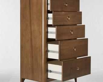 Walnut Mid Century 5 Drawer Dresser, Mid Century Storage Dresser - Ekais BQ Line