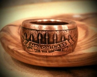 Molon Labe Ring - Hand Forged .999 Pure Copper Coin Ring - Come and Take Them!