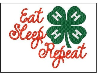 Eat Sleep 4h Repeat embroidery 4x4 5x7 6x10