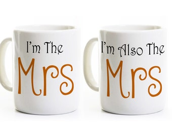 Lesbian Wedding Gift - Mrs and Mrs Coffee Mugs Cups - Gay Marriage