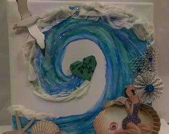Beside the Sea : Mixed media canvas art