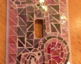 Pink/Purple handmade stained glass switch plate