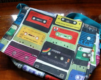 Retro cassette tape bag with blue strap