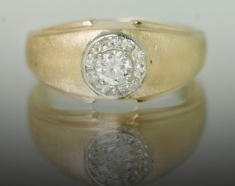 14k Brushed Gold Diamond Ring