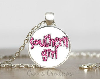 SALE!!! Southern Girl glass pendant necklace