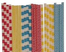 Paper Straw Mix, Red Yellow Blue Striped Chevron Paper Straws, Circus Party Supplies, Carnival 1st Birthday Decor, Superhero Party Straws