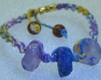 "Bracelet with blue chalcedony stones trio ""the identity stone"""
