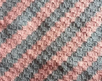 Crochet baby blanket pink and grey