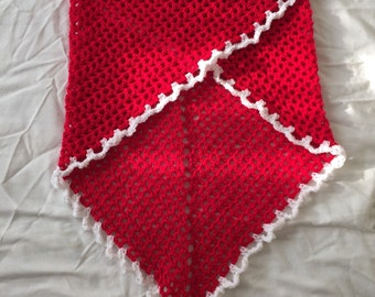 Red crochet summer shawl with white trim, ready to ship; red crochet scarf; lighteweight crochet wrap