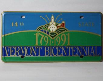 Vermont 1991 Bicentennial License Plate
