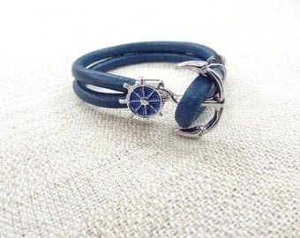 EXPRESS SHIPPING,Men's Blue Leather Bracelet, Wheel Anchor Bracelet, Cuff Bracelet, Gifts for Boyfriend, Valentine's Gifts,