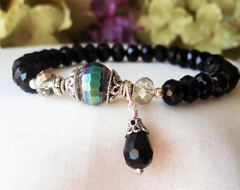 Women's Bohemian Bracelet, Gypsy, Black Crystal Beads, Mata Hari Bracelet,Romantic, Bridal,  Wedding, Friendship Bracelet, Best Friend C207
