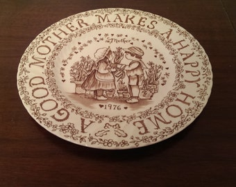 "Royal Crownford, Norma Sherman, Mother's Day Plate ""A Good Mother Makes A Happy Home"", 1976, Brown"