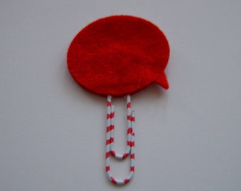 Red speech bubble felt paperclip