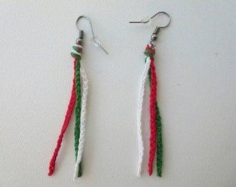 Earrings flag Italy crochet