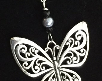 Handmade Silver Tone Butterfly Necklace, Mothers Day, Birthday, Gift