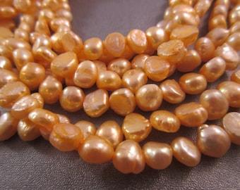 Freshwater Peach Potato Pearl Beads 62pcs
