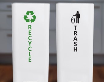 Recycle and Trash Sticker or Decal for Recycle Bin, Trash Can, Container - Vertical