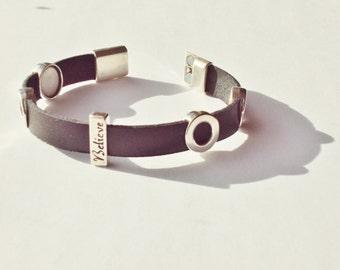 Black, Leather Charm Bracelet