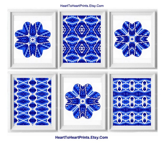 ikat royal blue navy white wall decor by hearttoheartprints. Black Bedroom Furniture Sets. Home Design Ideas