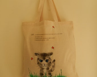 Hand painted cat tote bag