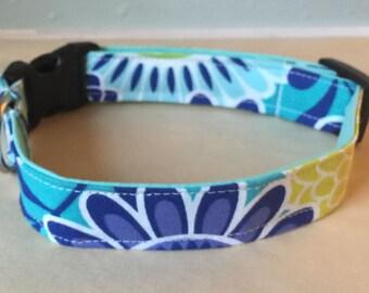 Blue & Green Girly Dog Collar