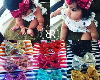Sequin Baby Bow Striped Headbands