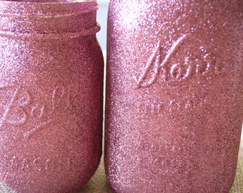 Copper Rose Pink Glitter Mason Jar Vase, Rustic Vase, Mason Jar Vase, Glitter Vase, Wedding Decor, Home Decor, Country Chic, Country Decor