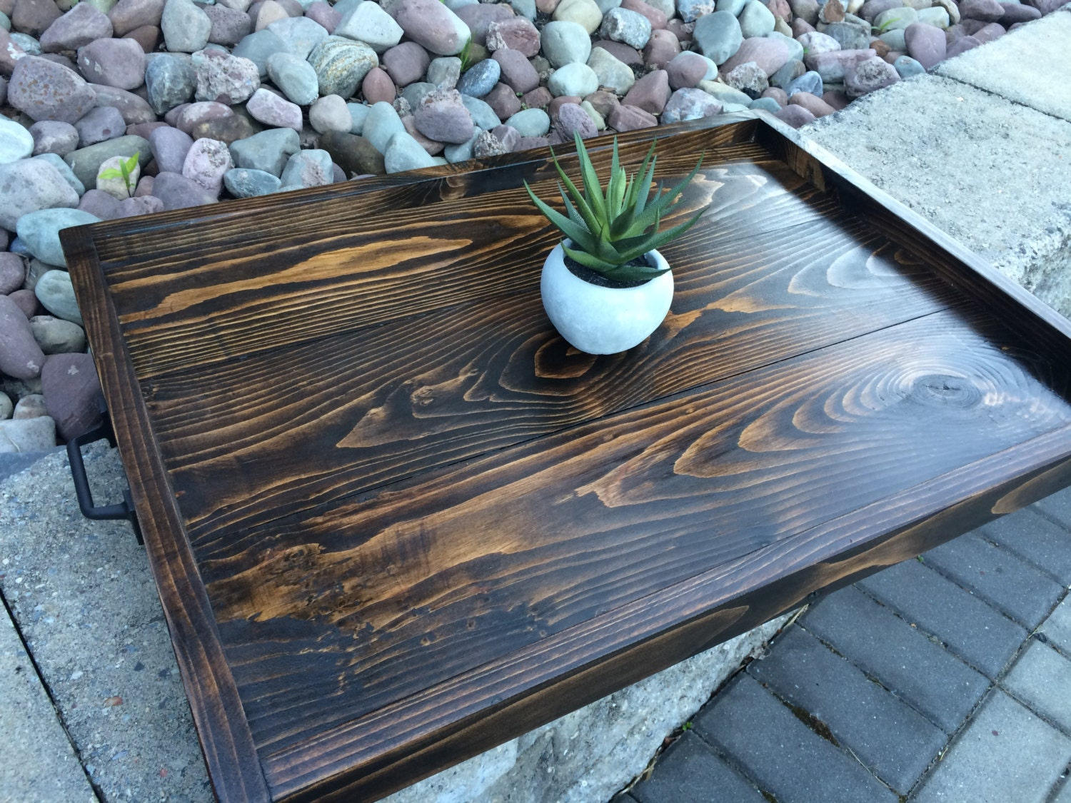 Rustic Wooden Tray Ottoman Tray Serving Tray Coffee Table