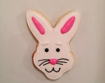 One Dozen Large Bunny Face Easter Cookies - Decorated Shortbread Cookies -