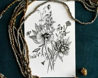 Flower Ink Drawing, 4x6 Floral Print #3