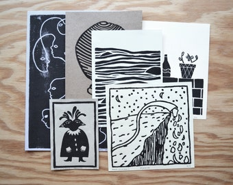 6 small linocuts numbered and signed