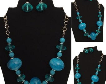 Aqua Blue and Silver Beaded Necklace and Earring Set