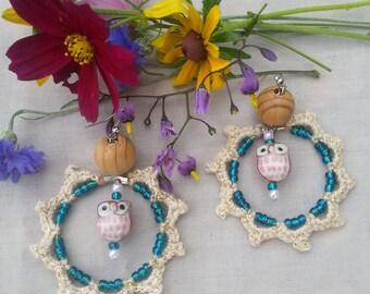Crocheted hoop earrings, hoop earrings, handcrafted earrings, beaded earrings,