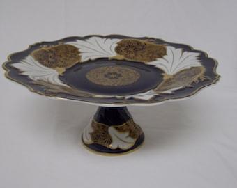 Vintage Rare Echt Weimar Kobalt Jutta Model Pedestal Cake/Compote Dish