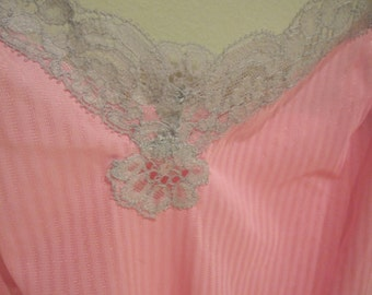 Vintage  Harvey Woods neon pink nylon tricot lace trim camisole size 34