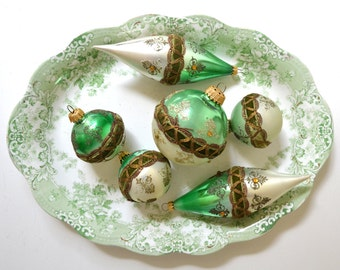 vintage glass christmas ornaments green christmas ornaments