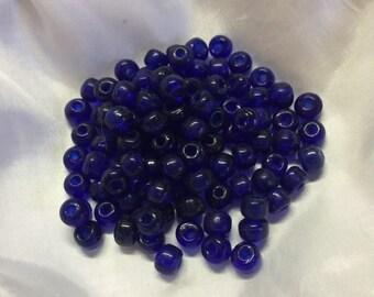 6mm Pony Beads Transparent Cobalt. 500 beads.