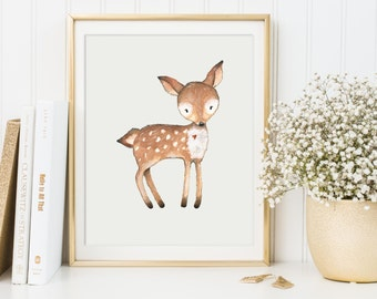 Deer Print, Woodland Nursery Decor, Woodland Animal Printable, Deer Painting, Forest Animal Poster, Deer Wall Art, Deer Printable, Nursery